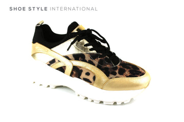 Le Babe 900V2 Lace Up Sneaker in Gold and Leopard Print Desgn,
