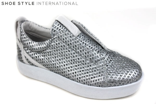 Andia Fora Libi Flatform Trainer, pull on available Colours Silver, White, leather upper, leather lining shoe style international, wexford gorey ireland