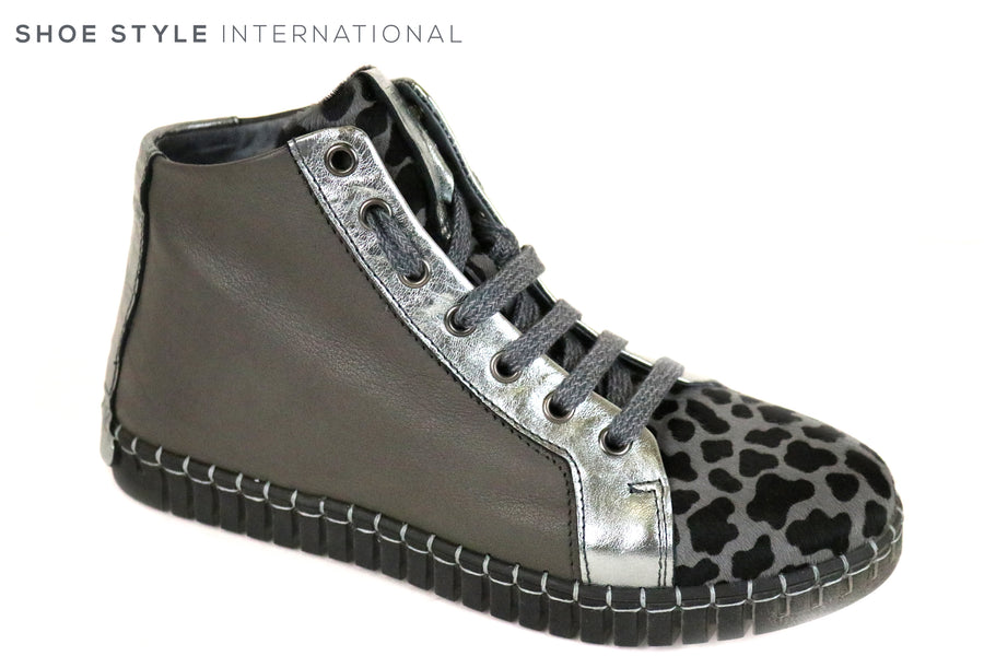 Andia Fora Blaswp, Stylish hidden wedge runner, Colour Grey with a Zebra print in design in Black and Grey Colour. Shoe Style International, Wexford, Gorey, Ireland Shoe Shops
