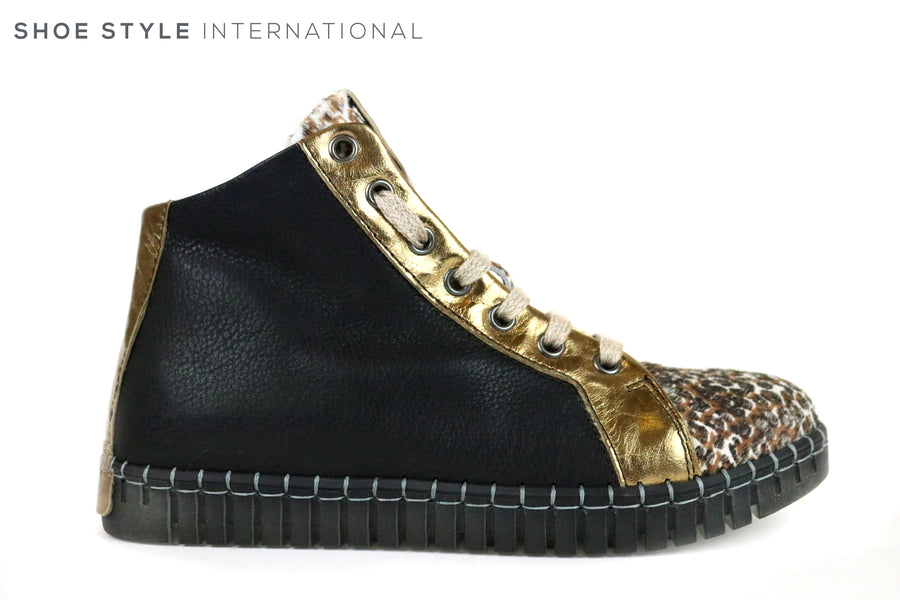 Andia Fora Blaswp, Hidden Wedge Style Trainer, Colour Black and Gold with a leopard print design on the front of the shoe. Lace up Shoe. Shoe Style International, Wexford, Gorey, Ireland