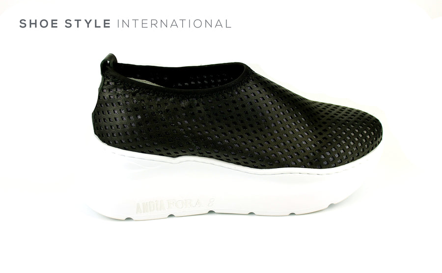 Andia Fora Pillar Sneakers, Black Leather Upper and White Platform Sole, Slip-on Sneaker Ireland Shoe Shops online, Shoe Style International, Location Wexford Gorey, Ireland