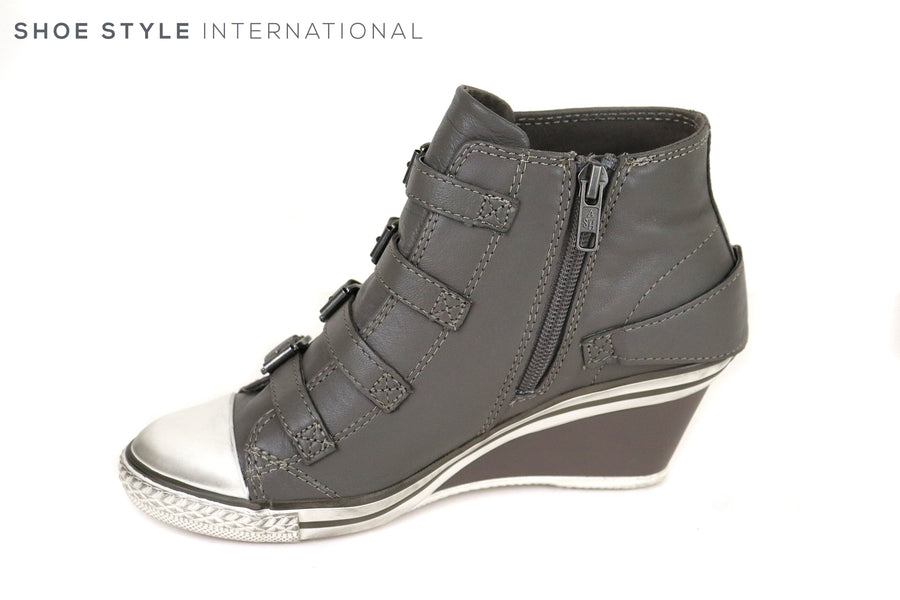 Ash Genial Wedge Trainer Colour Grey, Buckle detail and Zip closing at the side, Everyday Casual look , Ireland Shoe Shops online, Shoe Style International, Location Wexford Gorey and Ireland