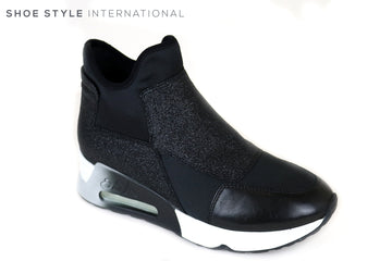 Ash Lazer Glit Pull on Trainer, This Trainer is Black with Black Glitter Panels attached to the Trainer, Ireland Shoe Shops online, Shoe Style International, Location Wexford Gorey and Ireland