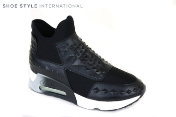 Ash Lazer Studs Pull on Trainer in black. Has 3D Studs on Leather panels colour Black walk around in comfort and style all day Ireland Shoe Shops online, Shoe Style International, Location Wexford Gorey and Ireland