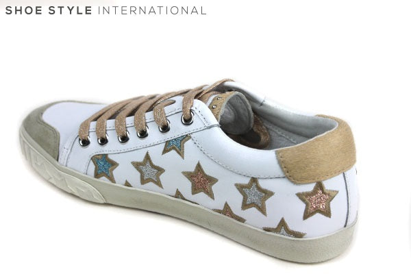 Ash Majestic Trainers with Laces, Colour White with Gold Star detail on the trainer, Shoe Style International Wexford Gorey Ireland