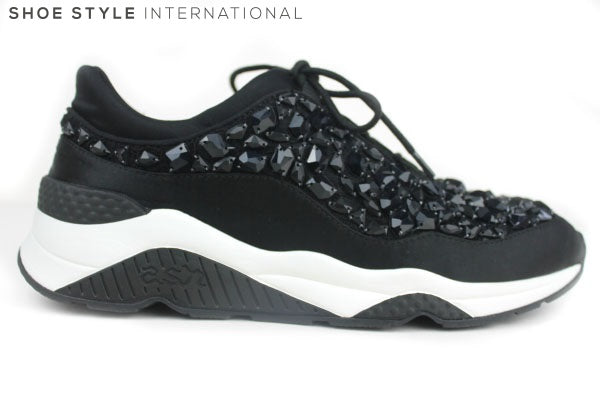 Ash Muses Trainers with Laces, colour Black with black stone detail on the upper of the trainer, Shoe Style International Wexford Gorey Ireland