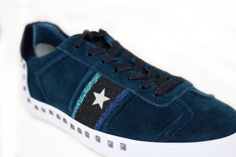 Ash Geo Trainer with Studded detail and star detail on the taterial Suede, rainer, Colour Petrol, Ireland Shoe Shops online, Shoe Style International, Location Wexford Gorey and Ireland