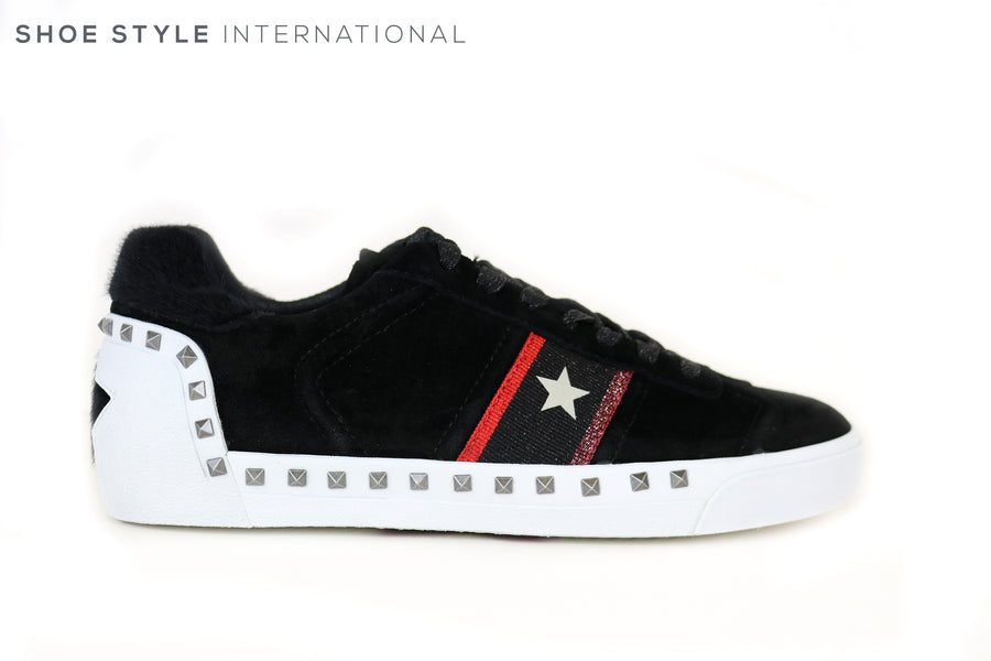 Ash Neo Suede Black Trainer with Stud Detail around the gum sole. Lace up Trainer has star detail on the side. Ireland Shoe Shops online, Shoe Style International, Location Wexford Gorey and Ireland