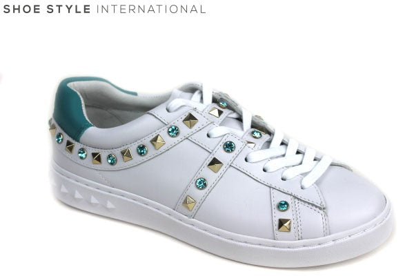 Ash Play White Trainers with laces, has studded detail in colours Turquoise and Gold. Shoe Style International Wexford Gorey Ireland