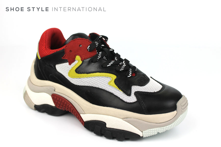 Ash Addict on Trend Sneak in a Buffalo Style Sneaker, Colour Black Red  an Yellow in a lace up, Spring-Summer-2019 -Shoe_Shops-online-Shoe_Style_International-Wexford-Gorey-Ireland