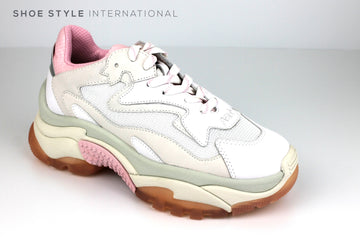 Ash Additct Trainer, 90's inspired Buffalo Sneaker, colour White, Chalk, Pink, Ireland Shoe Shops online, Shoe Style International, Location Wexford Gorey, Ireland
