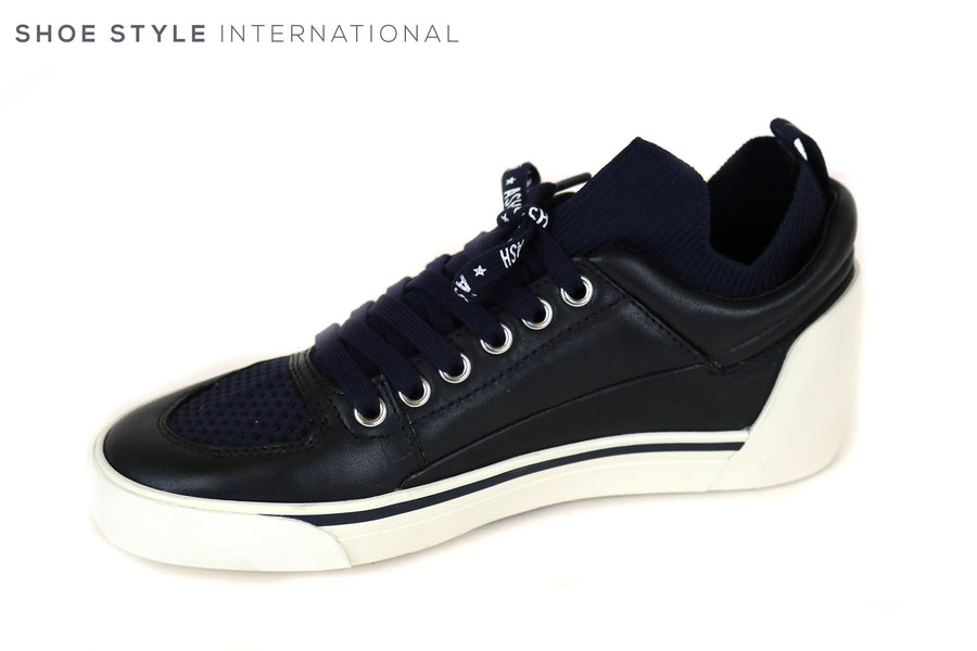 Ash Nippy Hidden wedge trainer, Colour Navy and Black with a lace up trainer, Star detail in White at the side and at the back a star detail in Navy, Ireland Shoe Shops online, Shoe Style International, Location Wexford Gorey and Ireland