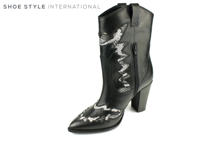 Bronx 34106 Americana Western Boot in Black Leather with Snake Skin Design, Ireland Shoe Shops online, Shoe Style International, Location Wexford Gorey, Ireland