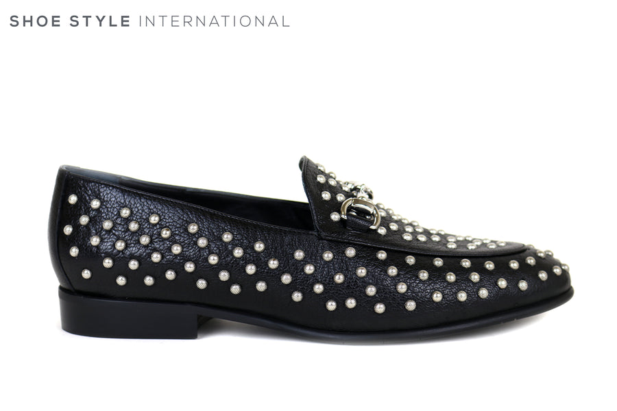Evaluna 058, Black Leather Flat loafer with Silver Stud Detail around the whole shoe, Insole is Cushioned, Ireland Shoe Shops online, Shoe Style International, Location Wexford Gorey, Ireland