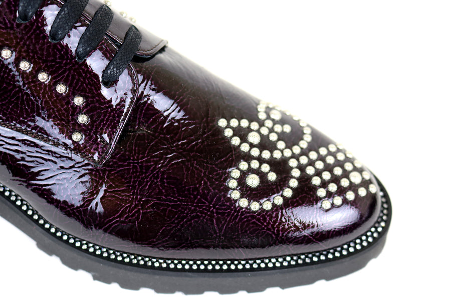 Evaluna 1839, Lace up brogue with Diamante Detail in Patent Leather Burgundy,Ireland Shoe Shops online, Shoe Style International, Location Wexford Gorey, Ireland