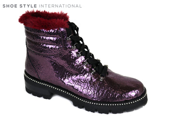Evaluna 2712, Lace-up Patent Burgundy Flat Ankle Boot, Ankle Boot with Fur Faux detail at the top and diamante embellishments around the trim of the sole, Ireland Shoe Shops online, Shoe Style International, Location Wexford Gorey, Ireland