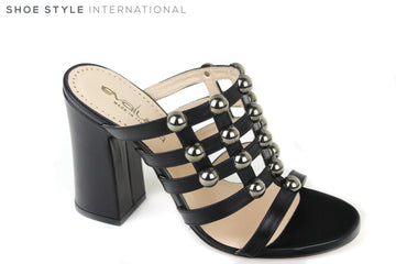 Evaluna 2815, Block high heel open toe slip-on sandal. Colour is black with silver ball details on the front of the foot. Shoe Style International