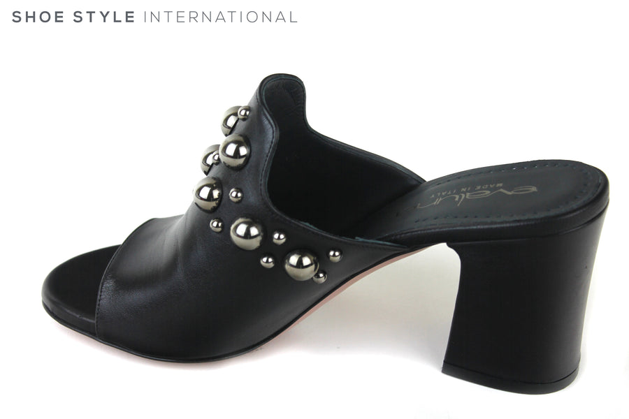 Evaluna 3014, Open toe Mule with medium height block heel. Colour is black with metallic black silver ball embellishments at the top of the shoe. Shoe Style International