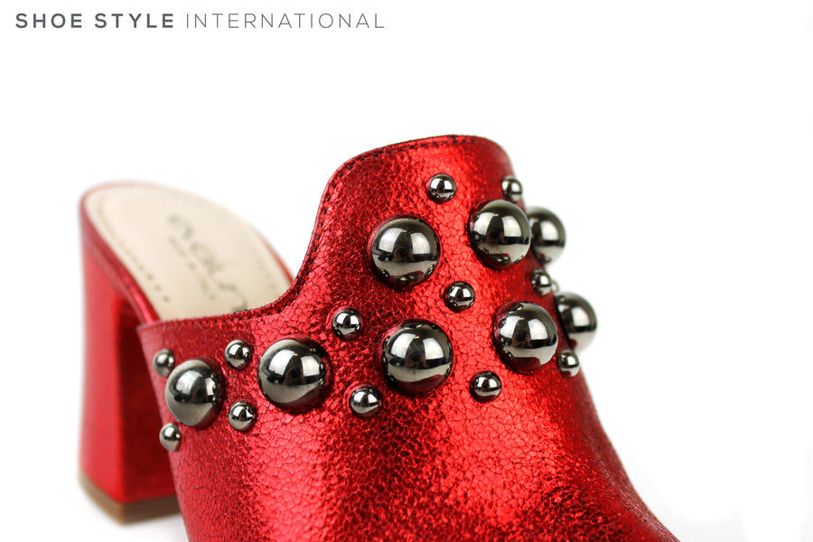 Evaluna 3014, Open toe Mule with studded detail. Colour Metallic Red. Silver Balls attached to the the top of the Mule. Shoe Style International
