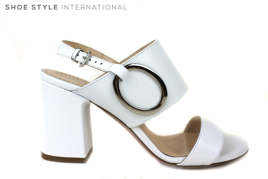 Evaluna 3018, Block heel sling-back open toe Sandal. Colour White, has Silver buckle detail on top strap. Shoe Style International