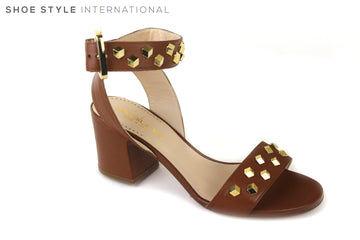 Evaluna 428, Open toe Sandal with an ankle strap closing. Colour is tan with Gold Studded detail across one strap at the front and the across the ankle strap. Shoe Style International