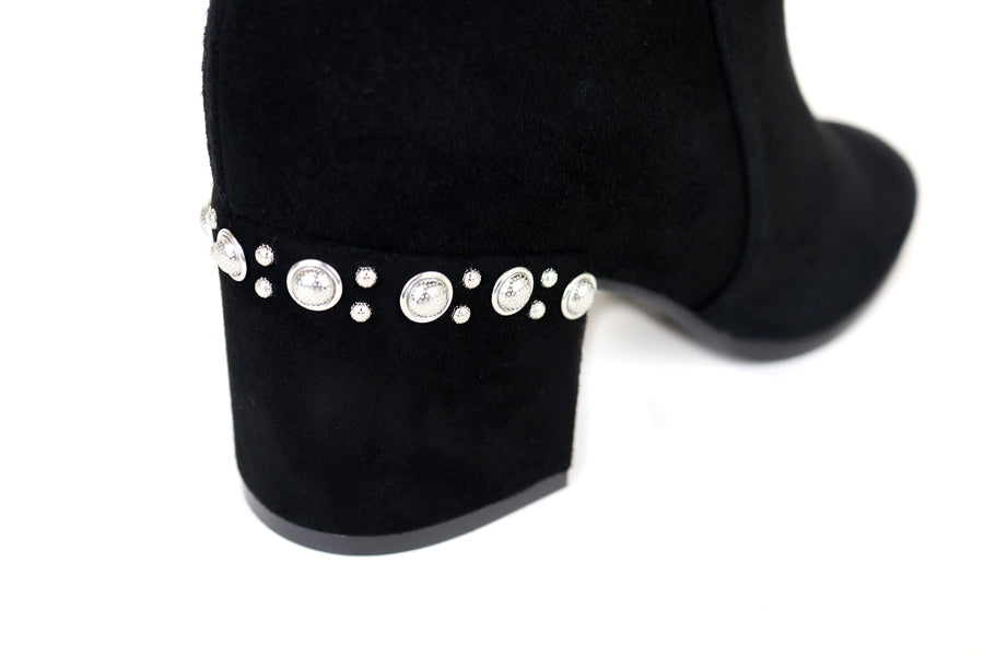Evaluna 5964, Low Heel Black Suede Ankle Boot with pearl embellishments on the top of the heel and side zip closure, Ireland Shoe Shops online, Shoe Style International, Location Wexford Gorey, Ireland