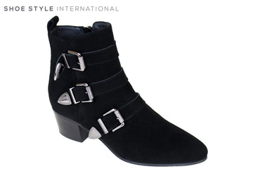 Evaluna 6003, Black Suede Ankle Boot with low heel and almond shaped toe with three silver buckle detail and sided zip closure, Ireland Shoe Shops online, Shoe Style International, Location Wexford Gorey, Ireland