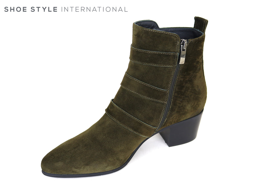 Evaluna 6003, Green Suede Ankle boot with three silver buckle detail and side zip closure and almond shaped toe, Ireland Shoe Shops online, Shoe Style International, Location Wexford Gorey, Ireland