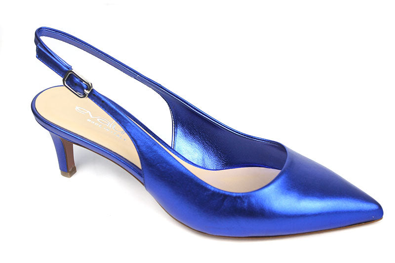 Evaluna 701, sling-back ankle strap shoe, closed toe low heel, colour Blue shoe style international Wexford Gorey Ireland
