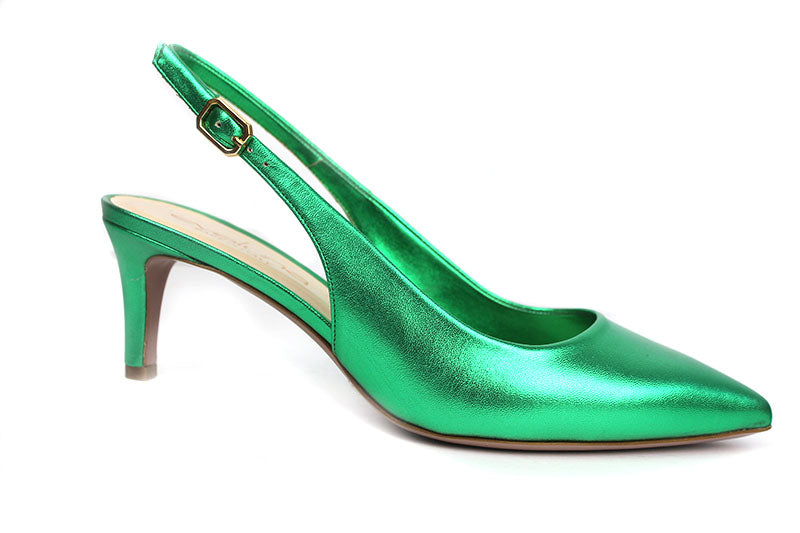 Evaluna 701, sling-back ankle strap shoe, closed toe low heel, colour Green shoe style international Wexford Gorey Ireland