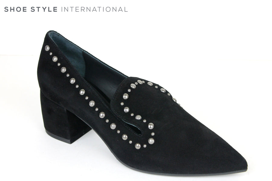Evaluna 767, Pointed Toe Mid Heel Shoe, Colour Black with Silver embellishments going around the top of the shoe, Perfect Shoe fro any Occasion wear, Shoe Style International Wexford, Gorey, Ireland