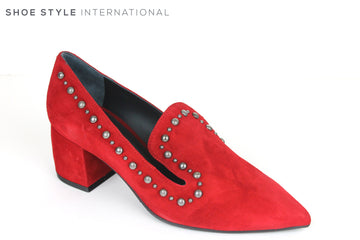 Evaluna 767, Pointed Toe Mid Heel Shoe, Colour Red with Silver embellishments going around the top of the shoe, Perfect Shoe fro any Occasion wear, Shoe Style International Wexford, Gorey, Ireland