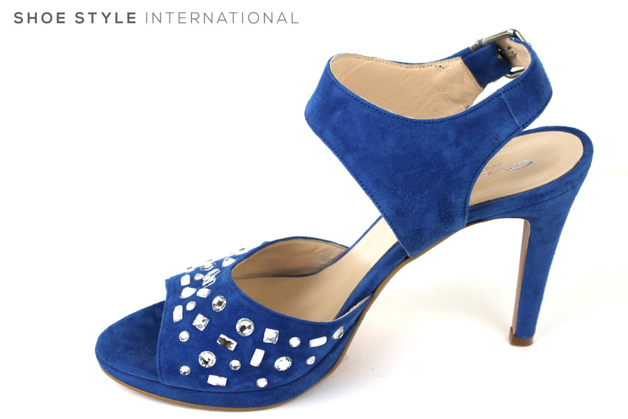 Evaluna 9142, Open toe sandal with Ankle Strap closing. Colour is blue. There is diamante detail on the front of the strap on the strap across the foot. Occasion wear shoe. Shoe Style International