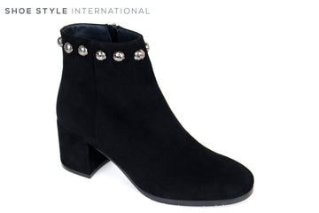 Evaluna Low Heel Ankle Boot in Black Suede with silver stud detail at the top and side zip closure, Ireland Shoe Shops online, Shoe Style International, Location Wexford Gorey, Ireland