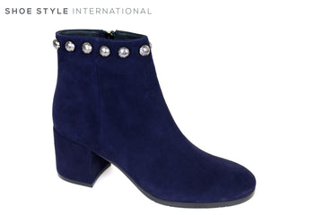 Evaluna Navy Suede Ankle Boot with Silver Stud detail at the top and side zip closure, Ireland Shoe Shops online, Shoe Style International, Location Wexford Gorey, Ireland