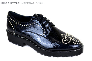 Evaluna 1839, Lace up brogue with Diamante Detail in Patent Leather Navy,Ireland Shoe Shops online, Shoe Style International, Location Wexford Gorey, Ireland