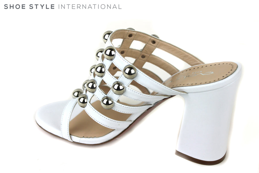 Evaluna 2815, Block high heel open toe slip-on sandal. Colour is white with silver ball details on the front of the foot. Shoe Style International