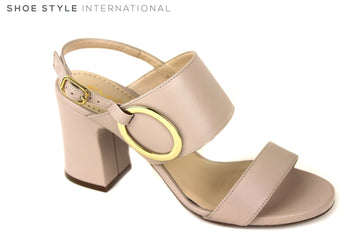 Evaluna 3018, Block heel sling-back open toe Sandal. Colour Nude, has Gold buckle detail on top strap. Shoe Style International