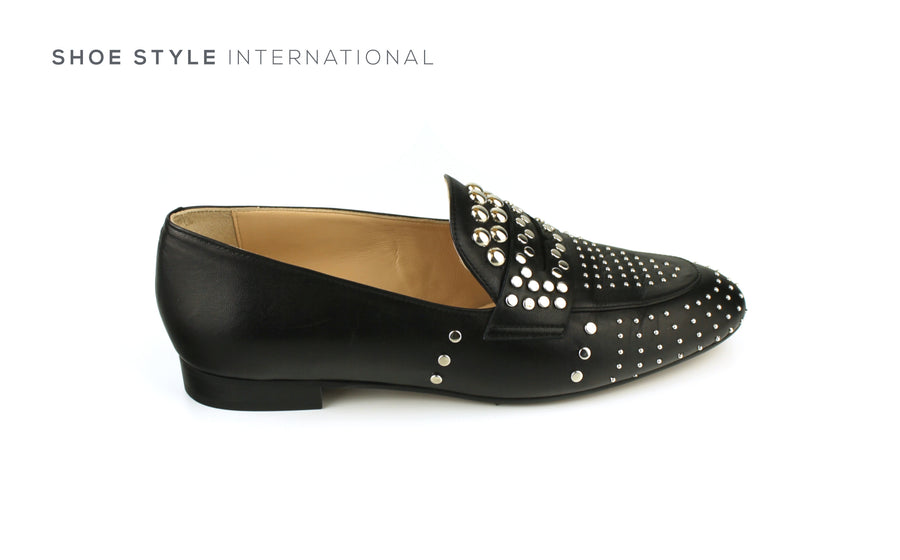 Evaluna 067 Black Slip-on Loafer with Silver Stud Detail, Ireland Shoe Shops online, Shoe Style International, Location Wexford Gorey, Ireland