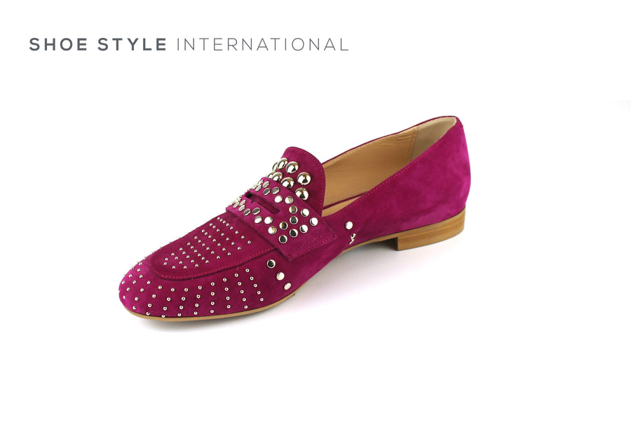 Evaluna 067 Fuschia Slip-on Loafer with Silver Stud Detail, Ireland Shoe Shops online, Shoe Style International, Location Wexford Gorey, Ireland