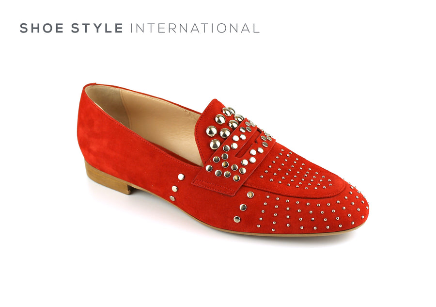 Evaluna 067 Red Slip-on Loafer with Silver Stud Detail, Ireland Shoe Shops online, Shoe Style International, Location Wexford Gorey, Ireland