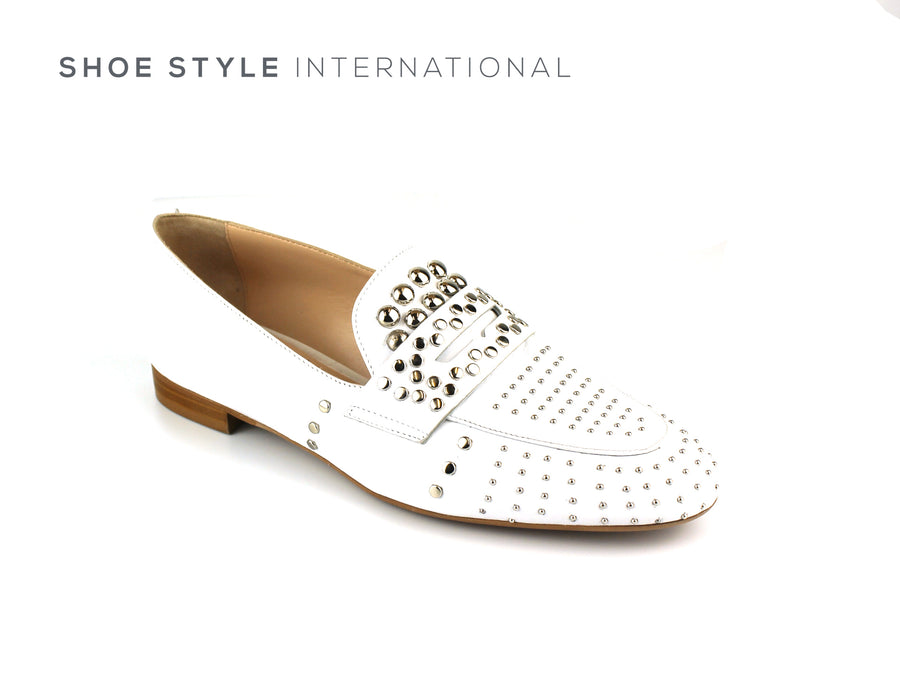 Evaluna 067 White Slip-on Loafer with Silver Stud Detail, Ireland Shoe Shops online, Shoe Style International, Location Wexford Gorey, Ireland