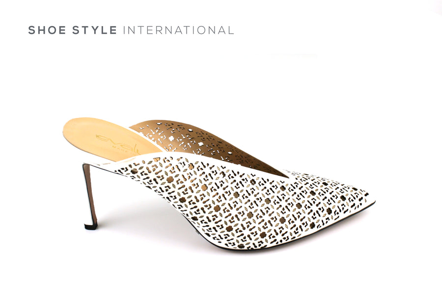 Evaluna 1602 White High Heel Mule with Lasered Leather Design, Ireland Shoe Shops online, Shoe Style International, Location Wexford Gorey, Ireland