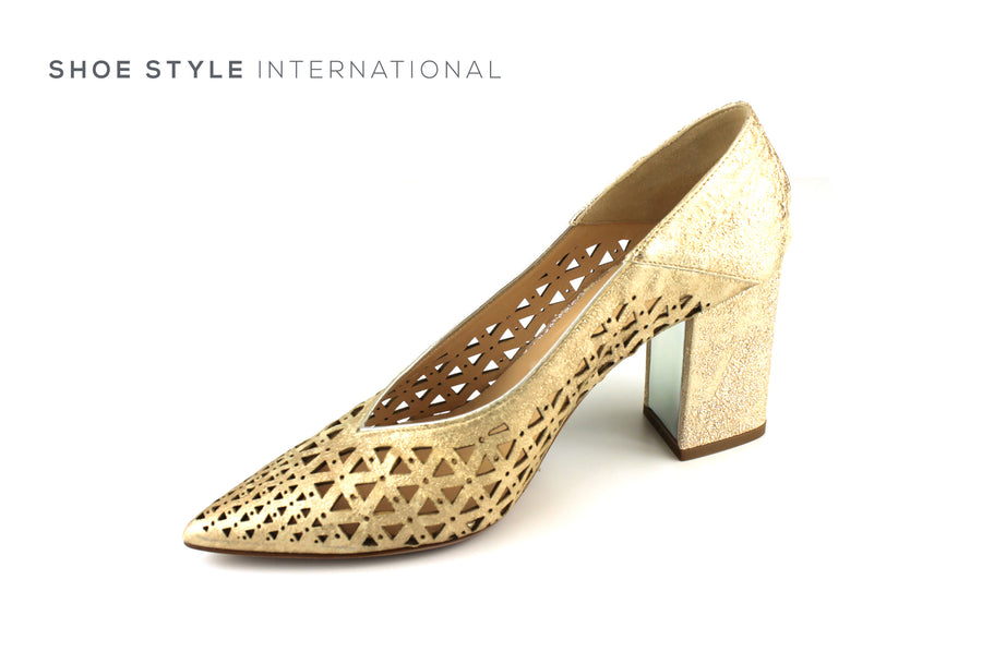 Evaluna 1650 Gold Block High Heel Pointed Toe in Gold Leather Lasered detail, Ireland Shoe Shops online, Shoe Style International, Location Wexford Gorey, Ireland