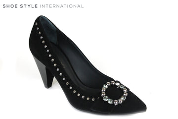 Evaluna 1991, High heel Shoe with a pointed toe. Colour is Black, the Shoe has a brioche at the front with a Dark Diamante and Silver Stud detail, the Silver Stud detial goes around the top of the whole shoe. Shoe Style International, Wexford, Gorey, Ireland