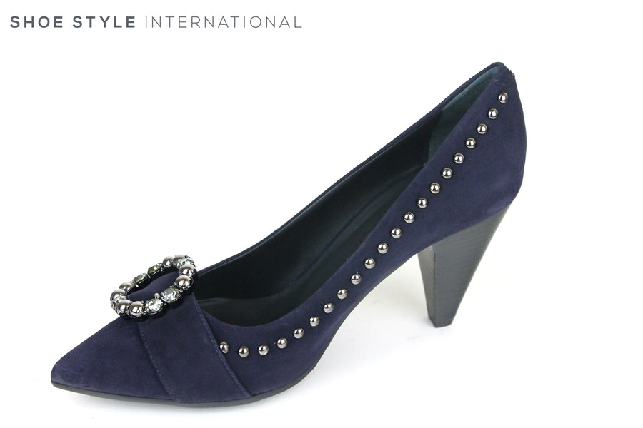 Evaluna 1991, High heel Shoe with a pointed toe. Colour is Blue, the Shoe has a brioche at the front with a Dark Diamante and Silver Stud detail, the Silver Stud detial goes around the top of the whole shoe. Shoe Style International, Wexford, Gorey, Ireland