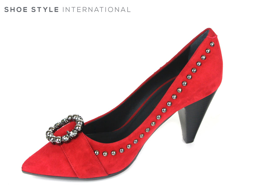 Evaluna 1991, High heel Shoe with a pointed toe. Colour is Red, the Shoe has a brioche at the front with a Dark Diamante and Silver Stud detail, the Silver Stud detial goes around the top of the whole shoe. Shoe Style International, Wexford, Gorey, Ireland