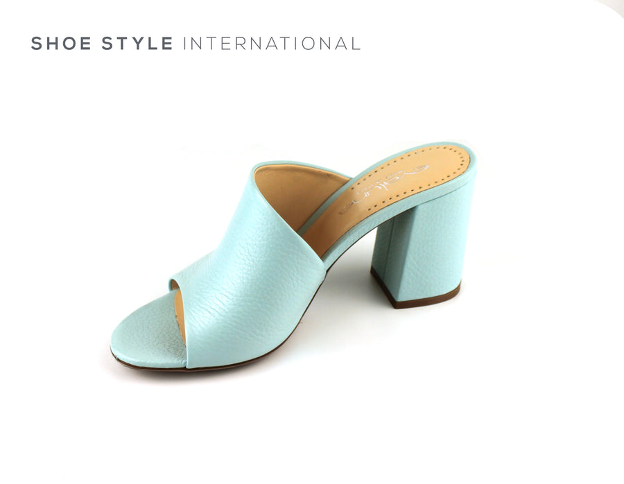 Evaluna Shoes, Duck Egg Colour Mule with Peep Toe and Block High Heel, Autumn-2018-Shoe_Shops-online-Shoe_Style_International-Wexford-Gorey-Ireland
