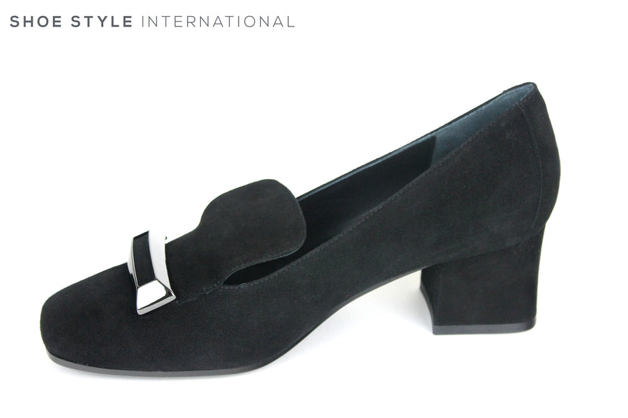Evaluna 4570, Medium Block heel Shoe, Colour Black, with buckle embellishment at the front and a square shaped finish at the front, Shoe Style International, Wexford, Gorey, Ireland