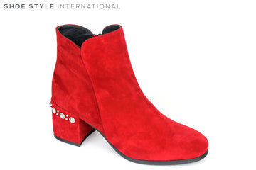 Evaluna 5964, Red Suede Low Block Heel Ankle Boot, Zip at side to close, on the back of the heel there is a row of silver embellishments, Shoe Style International, Wexford, Gorey, Ireland